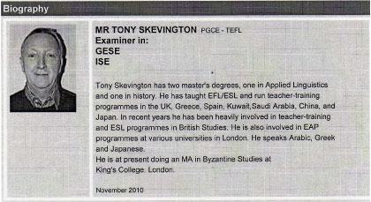 Tony Skevington (Examinador)