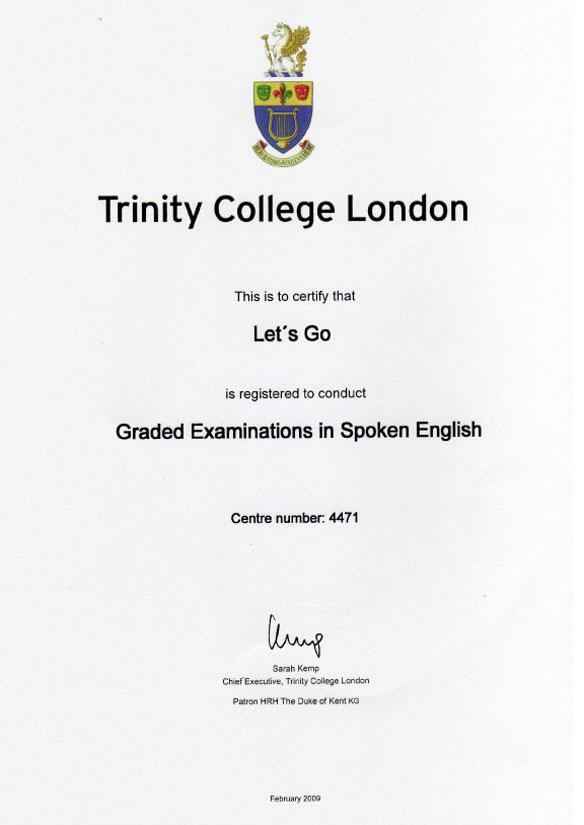 Certificado Trinity GESE